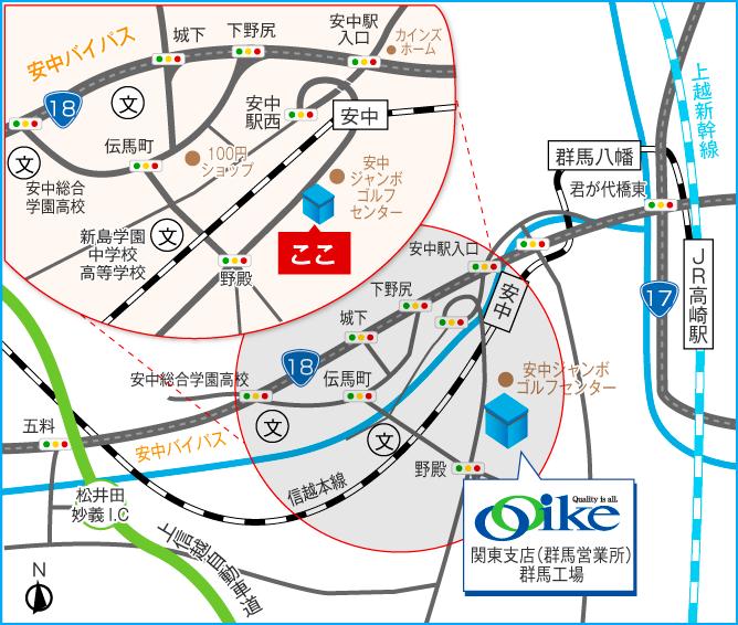 関東支店(群馬営業所)・群馬工場 地図
