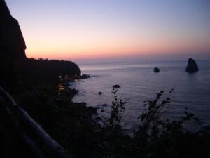施工現場となった鬱陵島の風景